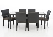 Brand new not used wicker glass top outdoor table with 6 chairs!!!!