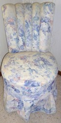 BEAUTIFUL PADDED FLORAL COVERED BEDROOM CHAIR