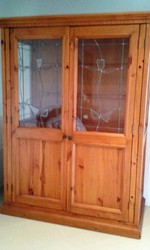 Large PineTV cabinet,  lead lighted with two large doors Price $350 ono